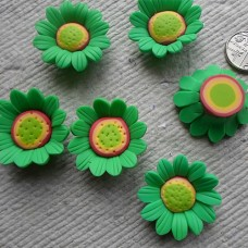 Polymer Clay ~ Large Green  flowers