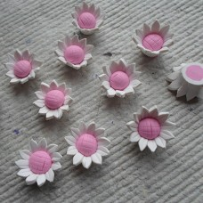 Polymer Clay ~ Small White and Pink  flowers
