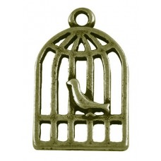 Antique Bronze Charm ~ Birdcage