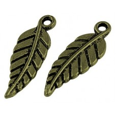 Antique Bronze Charm ~ Long Leaf