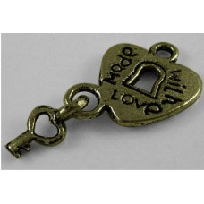 Antique Bronze Charm ~ Made with love lock