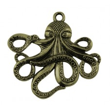 Antique Bronze Charm ~ Octopus