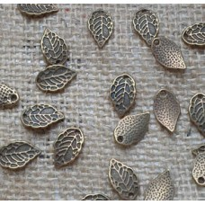 Antique Bronze Charm ~ Broad Leaf