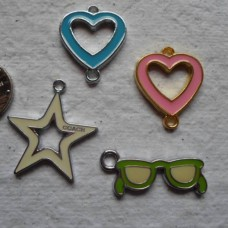 Enamelled Charms ~ 4 Assorted Charms