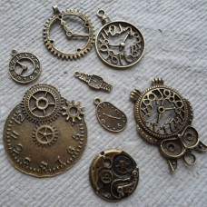 Antique Bronze Charm ~ Pack of clocks - Steam Punk