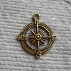 Antique Bronze Charm ~ Compass