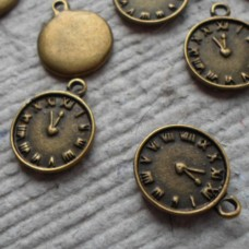 Antique Bronze Charm ~ Tiny clock face