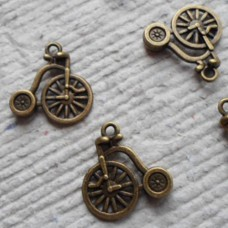 Antique Bronze Charm ~ Penny Farthing