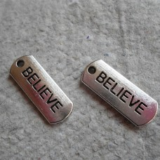 Antique Silver Charm ~ Believe Tag