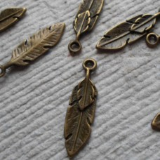 Antique Bronze Charm ~ Feather