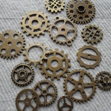 Antique Bronze Charms ~ Clock Clogs ~ Steam Punk