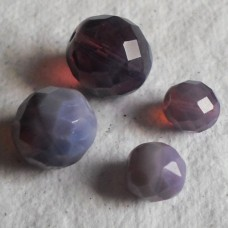 Czech Glass ~  Faceted Cloudy Purple