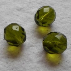 Czech Glass ~  Faceted Olive