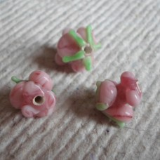 Glass bead ~ 10mm Pink Rose Shaped