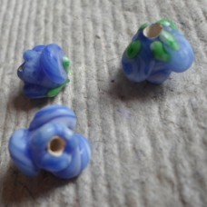 Glass bead ~ 10mm Blue Rose Shaped