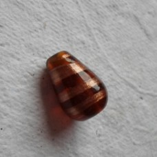 Handmade Indian Glass bead ~ 19mm Amber Drop
