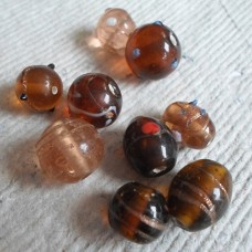 Indian Glass Beads ~ Assorted Amber Pack