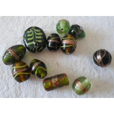 Indian Beads ~  11 Pack of Green