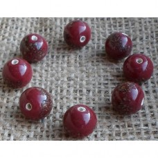 Handmade Indian bead ~ Maroon Speckled