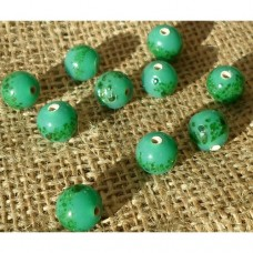 Handmade Indian Ceramic bead ~ Green Round