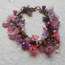 Bracelet ~ Antique Bronze with Pink and Lilac