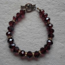 Bracelet ~ Glass Faceted Beads and Rhinstones