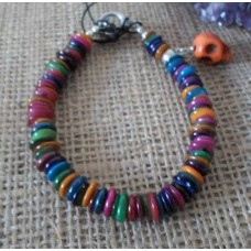 Bracelet ~ Multi Shell with Various Coloured Skull Charms