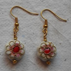 Earrings ~ Cloisonné Disc in White and Maroon