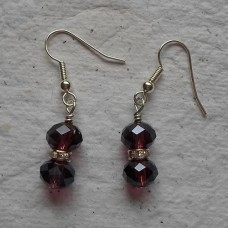 Earrings ~  8mm Faceted and Rhinestone