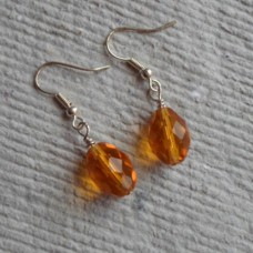 Earrings ~  Amber Faceted Ovals