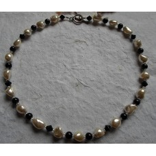 Necklace ~  Black Onyx and Shell Nuggets