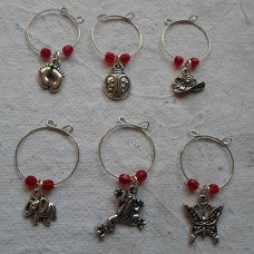 Set of 6 Wine Glass Charms