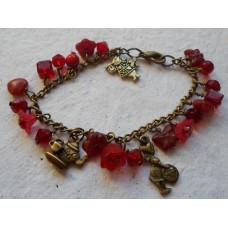 Bracelet ~ Antique Bronze and Red Charms