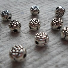 Antique Silver  ~ Rose / Peony Beads x 10