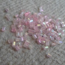 2 Cut Beads ~  Transparent Rainbow ~ Pink
