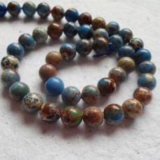 Blue Serpentine 6mm Round Beads