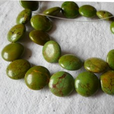 Green Howlite Coin Beads