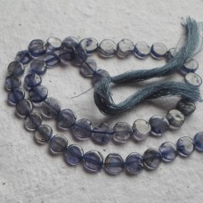 Iolite coin Beads