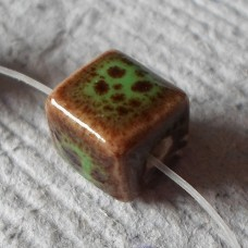 Ceramic ~ Cube Beads in Brown with Green