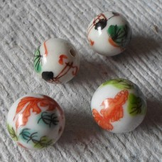 Ceramic ~ 15mm Round White with Fish and Stork Pattern