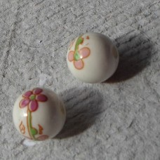Ceramic ~ 12mm Round  Bead in White with Pink Flower