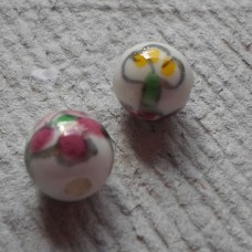 Ceramic ~ 10mm Round Bead in white with pink