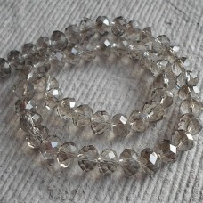 Glass Abacus Faceted ~ Silver Grey ~ Packs 20