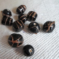 Indian Glass Beads ~ Assorted Black Pack