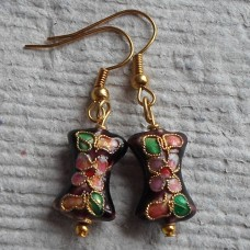 Earrings ~ Cloisonné Maroon Bow