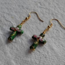 Earrings ~ Cloisonné Cross